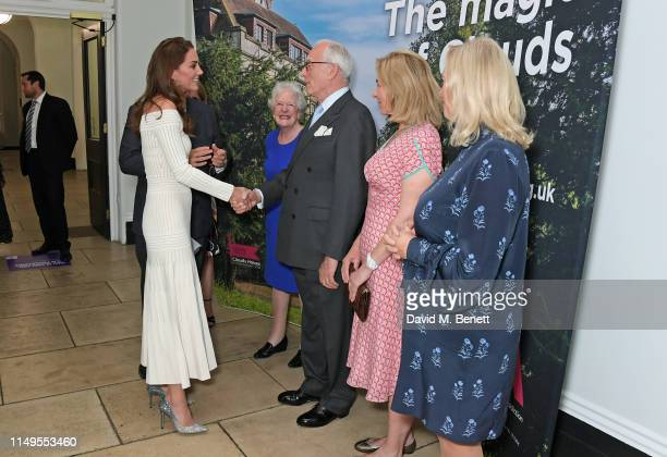 Catherine, Duchess of Cambridge, meets Lady Mary Parkinson, Lord Chadlington, Dr Henrietta Bowden-Jones and Lesley King-Lewis at a dinner hosted by...
