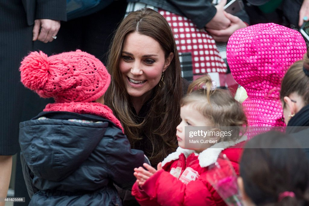 Catherine, Duchess of Cambridge meets local school children as she leaves The Fostering Network on January 16, 2015 in London, England.