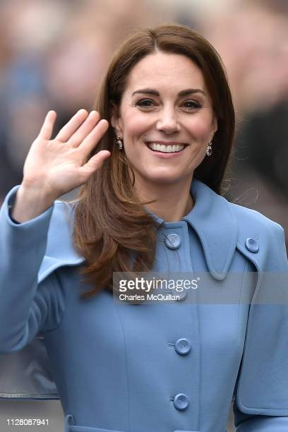 Catherine, Duchess of Cambridge, meets local well-wishers during a visit to CineMagic at the Braid Arts Centre on February 28, 2019 in Ballymena,...