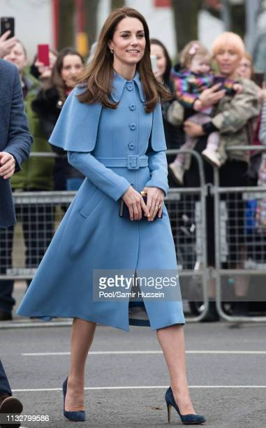 Catherine Duchess of Cambridge meets local wellwishers during a visit to CineMagic at the Braid Arts Centre on February 28 2019 in Ballymena Northern...