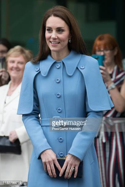 Catherine, Duchess of Cambridge meets local well-wishers during a visit to CineMagic at the Braid Arts Centre on February 28, 2019 in Ballymena,...