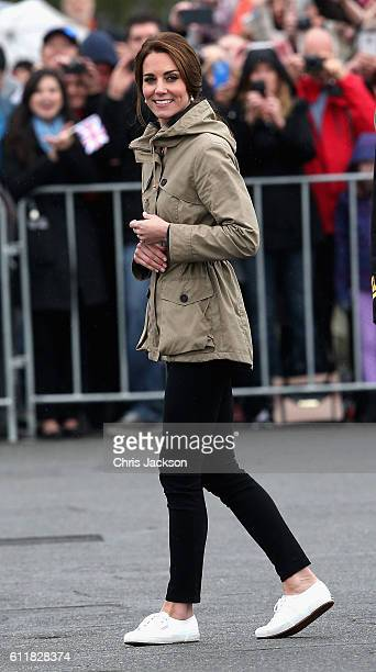 Catherine, Duchess of Cambridge meets members of the Canadian public after disembarking the tall ship Pacific Grace in Victoria Harbour on the final...