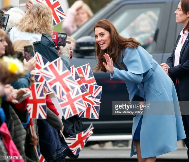 Catherine, Duchess of Cambridge meets members of the public as she visits CineMagic at the Braid Arts Centre on February 28, 2019 in Ballymena,...