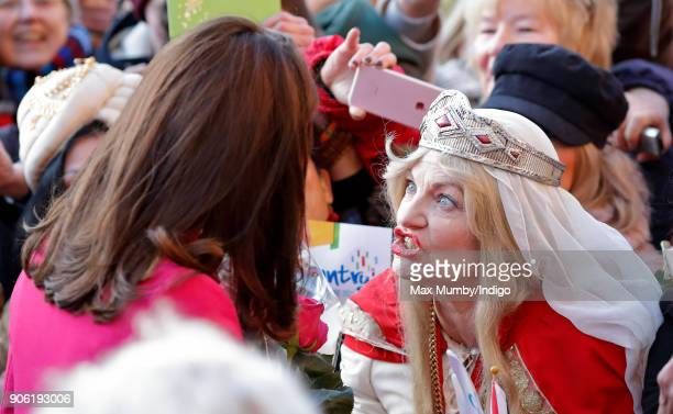 Catherine Duchess of Cambridge meets members of the public as she visits Coventry Cathedral on January 16 2018 in Coventry England