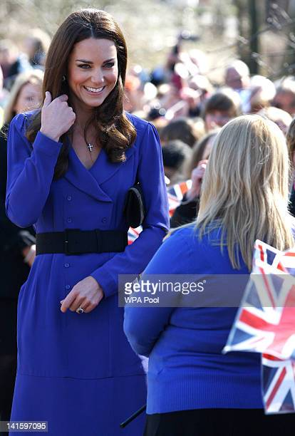 Catherine Duchess of Cambridge meets members of the public as she arrives to officially open The Treehouse Children's Hospice on March 19 2012 in...