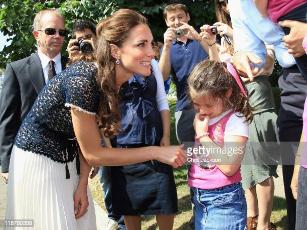 Catherine Duchess of Cambridge meets members of the public during an impromptu walkabout outside their residence on July 10 2011 in Los Angeles...