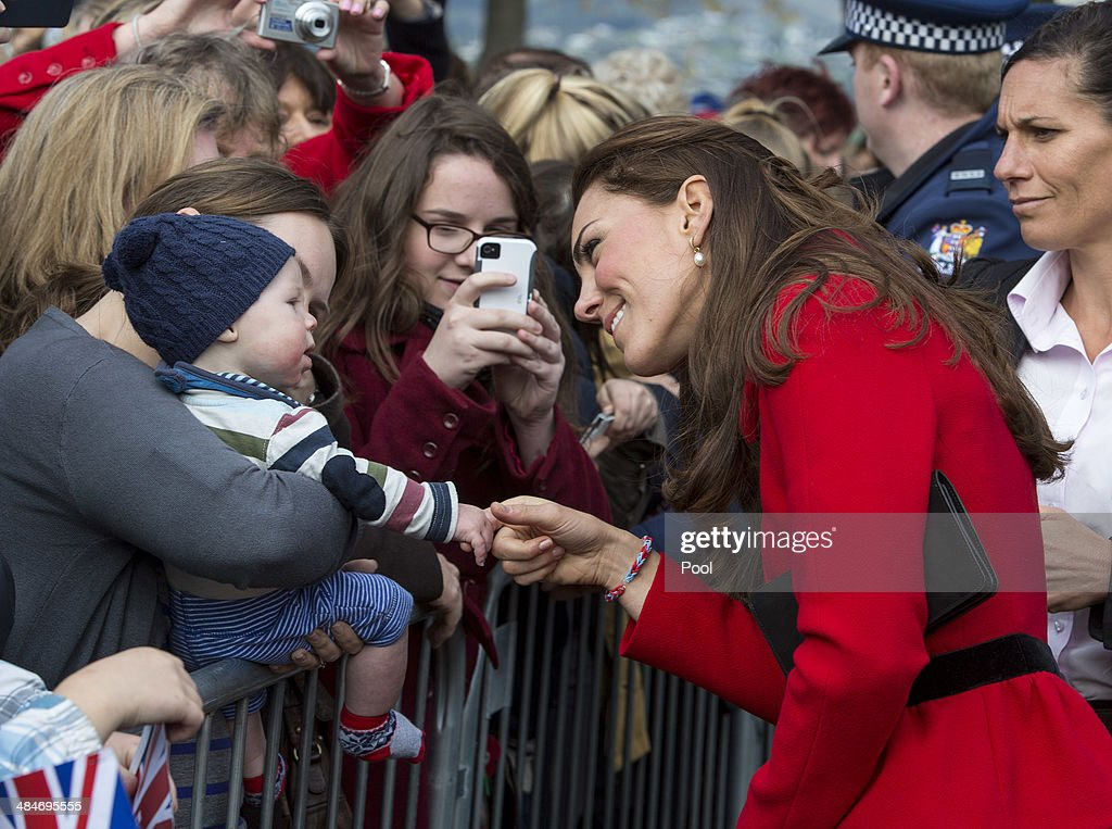 Catherine, Duchess of Cambridge meets members of the public in Latimer Square Gardens on April 14, 2014 in Christchurch, New Zealand. The Duke and Duchess of Cambridge are on a three-week tour of Australia and New Zealand, the first official trip overseas with their son, Prince George of Cambridge.