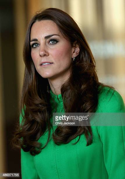 Catherine Duchess of Cambridge meets members of the public outside the Portrait Gallery on April 24 2014 in Canberra Australia The Duke and Duchess...