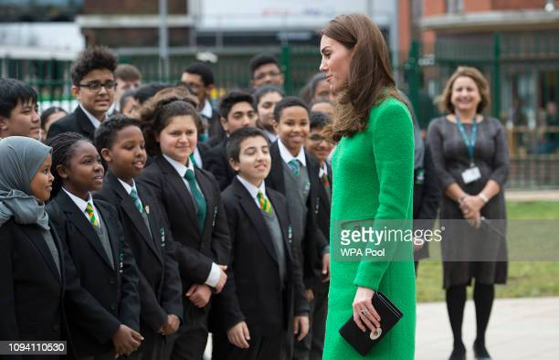 Catherine Duchess of Cambridge meets pupils at Alperton Community School in support of Place2Be's Children's Mental Health Week 2019 on February 05...