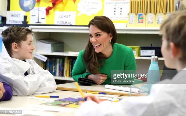 Catherine, Duchess of Cambridge meets pupils at Lavender Primary School in support of Place2Be's Children's Mental Health Week 2019 on February 05,...