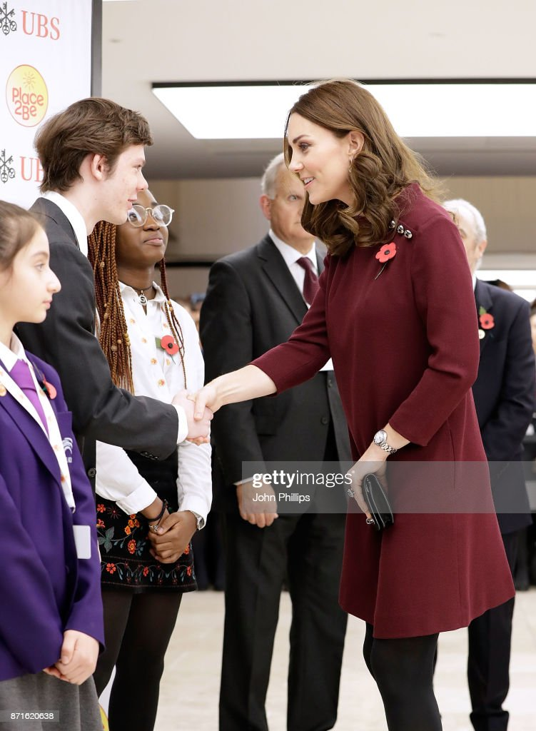 Catherine, Duchess Of Cambridge meets pupils from The Bridge Academy at the annual Place2Be School Leaders Forum at UBS London on November 8, 2017 in London, England. Catherine, Duchess Of Cambridge is Patron of Place2Be, a National Children's mental health charity.