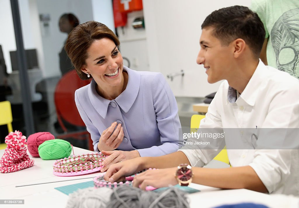 Catherine, Duchess of Cambridge meets pupils in a woollen class at Bouwkeet workshop project for teenagers on October 11, 2016 in Rotterdam, Netherlands