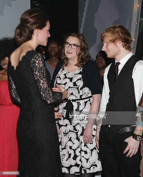Catherine Duchess of Cambridge meets Sarah Millican and Ed Sheeran at the end of The Royal Variety Performance at the London Palladium on November 13...