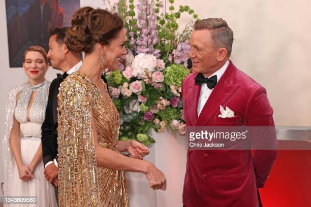 """Catherine, Duchess of Cambridge meets some of the cast including Daniel Craig at the """"No Time To Die"""" World Premiere at Royal Albert Hall on..."""