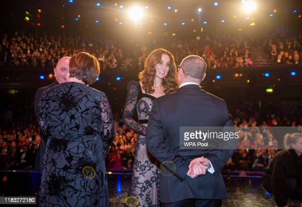Catherine Duchess of Cambridge meets the cast as they attend the Royal Variety Performance at Palladium Theatre on November 18 2019 in London England