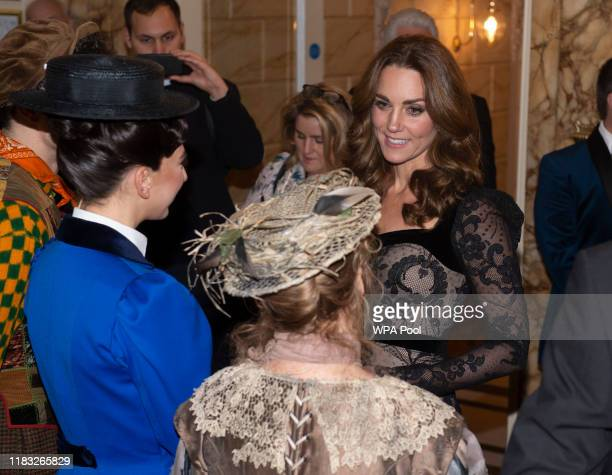 Catherine Duchess of Cambridge meets the cast of Mary Poppins including Petula Clark as she attends the Royal Variety Performance at Palladium...