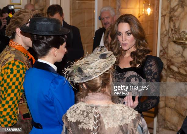 Catherine, Duchess of Cambridge meets the cast of Mary Poppins including Petula Clark as she attends the Royal Variety Performance at Palladium...