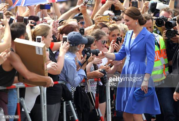 Catherine Duchess of Cambridge meets the crowd as she arrives at the Brandenburg Gate during an official visit to Poland and Germany on July 19 2017...