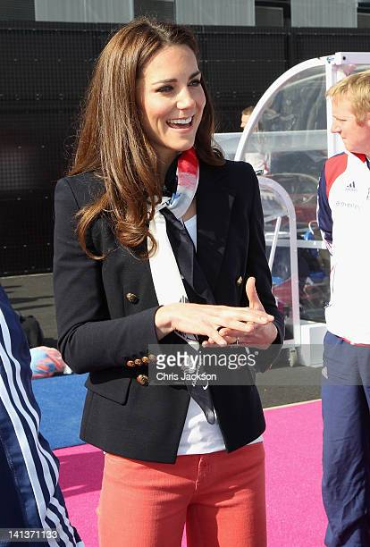 Catherine Duchess of Cambridge meets the GB HockeyTeam at the Riverside Arena in the Olympic Park on March 15 2012 in London England The Duchess of...