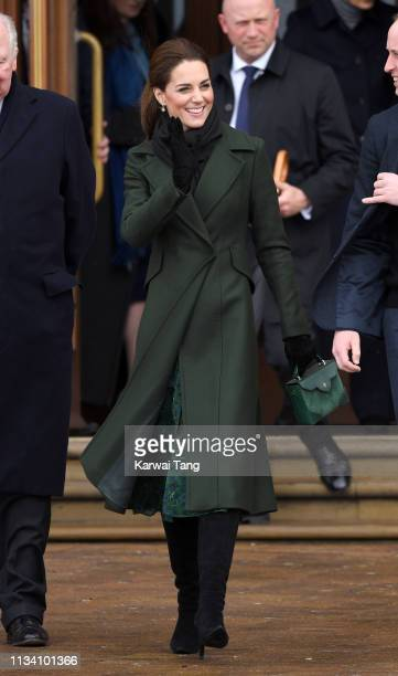 Catherine Duchess of Cambridge meets the public on the Comedy Carpet after visiting Blackpool Tower on March 06 2019 in Blackpool England