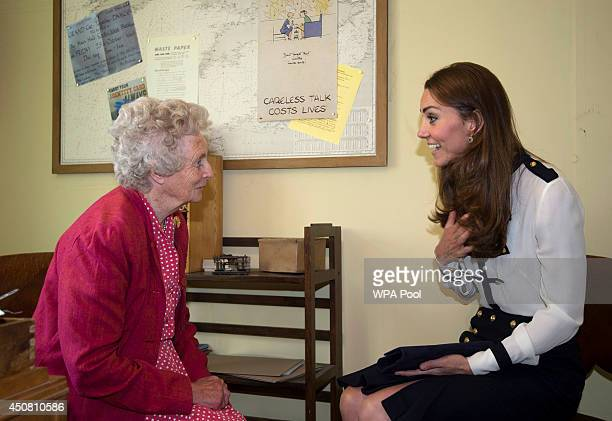 Catherine Duchess Of Cambridge meets veteran Lady Marion Body who knew her Grandmother as she tours the of the restored WWII Codebreaking Huts at...