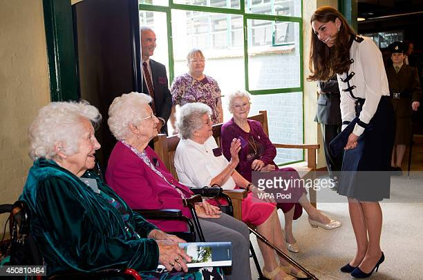 Catherine Duchess Of Cambridge meets veterans Peggy Huntington Joan Joslin Iris King and Alma Wightman as she tours the of the restored WWII...