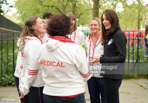 Catherine, Duchess of Cambridge meets volunteers during the 2017 Virgin Money London Marathon on April 23, 2017 in London, England.