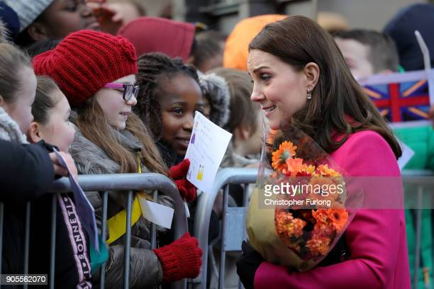 Catherine Duchess of Cambridge meets well wishers as she arrives for a visit to Coventry Cathedral during their visit to the city on January 16 2018...