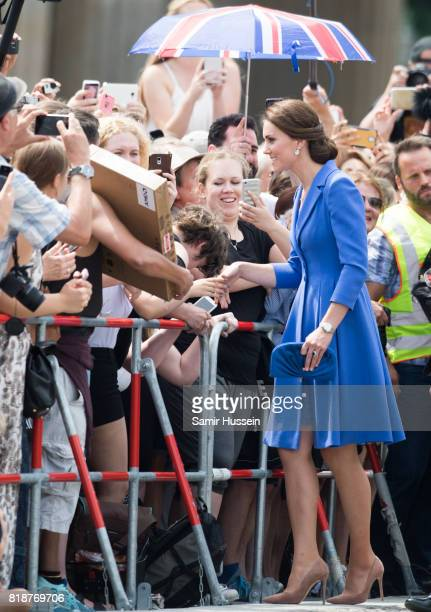 Catherine Duchess of Cambridge meets well wishers as she visits the Brandenburg Gate during an official visit to Poland and Germany on July 19 2017...