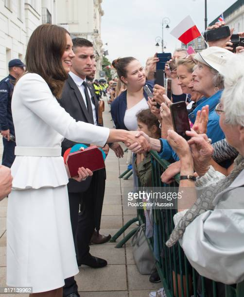 Catherine Duchess of Cambridge meets well wishers during a visit with Prince William Duke of Cambridge to the Presidential Palace during an official...