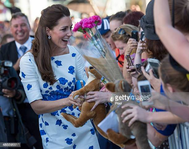Catherine Duchess of Cambridge meets well wishers during a walkabout on April 19 2014 in Brisbane Australia The Duke and Duchess of Cambridge are on...