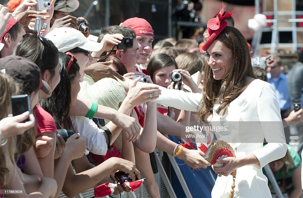 Catherine, Duchess of Cambridge meets well wishers during the Canada Day Celebrations at Parliament Hill on day 2 of the Royal Couple's North American Tour on July 1, 2011 in Ottawa, Canada.