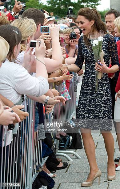 Catherine Duchess of Cambridge meets well wishers on a walkabout following the wreath laying ceremony at the National War Memorial on day 1 on the...