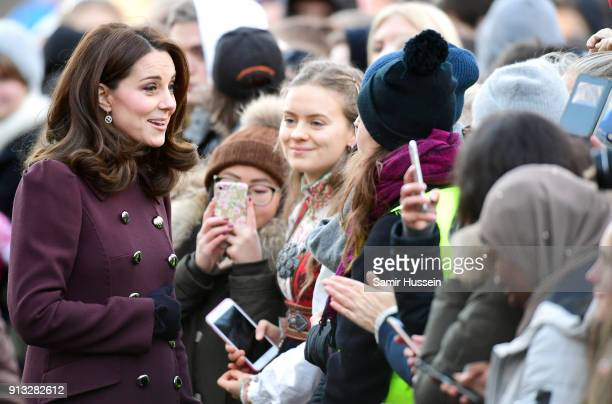 Catherine Duchess of Cambridge meets wellwishers as she arrives at Hartvig Nissen School the location for the successful Norwegian television...