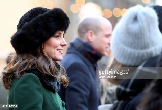 Catherine Duchess of Cambridge meets wellwishers as she walks through the cobbled streets of Stockholm from the Royal Palace to the Nobel Museum...