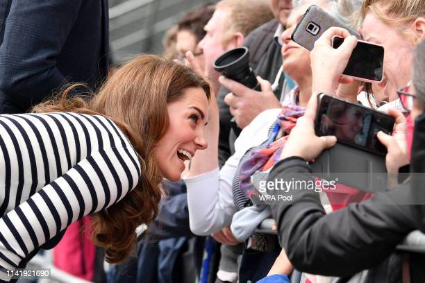 Catherine Duchess of Cambridge meets wellwishers as they leave after attending the launch the King's Cup Regatta at Cutty Sark Greenwich on May 7...
