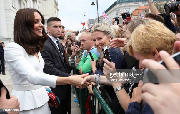 Catherine Duchess of Cambridge meets wellwishers during a visit with Prince William Duke of Cambridge to the Presidential Palace on day 1 of their...