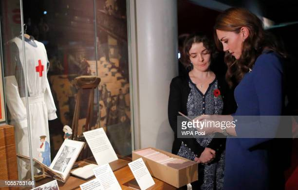 Catherine Duchess of Cambridge meets with a curator to view letters relating to the three brothers of her greatgrandmother who fought in the First...