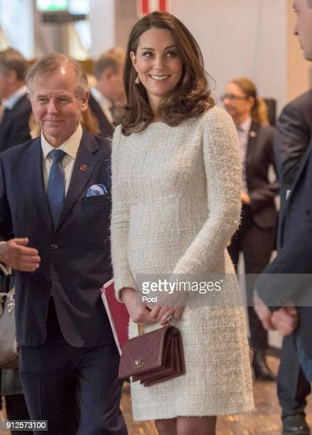 Catherine Duchess of Cambridge meets with academics and practitioners to discuss Sweden's approach to managing mental health challenges during day...
