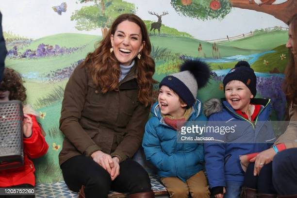 Catherine Duchess of Cambridge meets with children from two local nurseries during a visit to The Ark Open Farm on February 12 2020 in Newtownards...