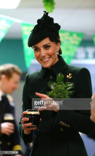 Catherine Duchess of Cambridge meets with Irish Guards after attending the St Patrick's Day parade at Cavalry Barracks on March 17 2019 in Hounslow...