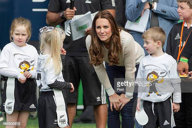 Catherine Duchess of Cambridge meets with Pirates team members during 'Rippa Rugby' in the Forstyth Barr Stadium on day 7 of a Royal Tour to New...