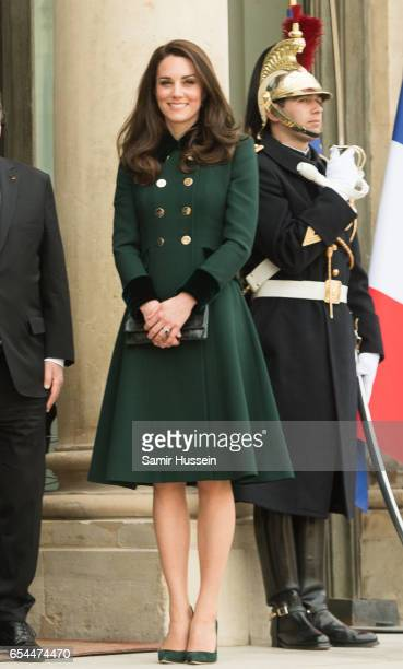 Catherine, Duchess of Cambridge meetS with President Francois Hollande at The Elysee Palace on March 17, 2017 in Paris, France. The Duke and Duchess...