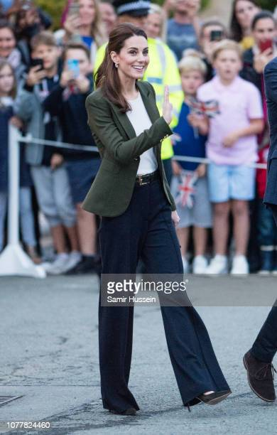 Catherine Duchess of Cambridge meets with serving personnel families living on the base and members of the local community during an official visit...