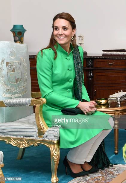 Catherine, Duchess of Cambridge meets with the Prime Minister of Pakistan, Imran Khan at his official residence on October 15, 2019 in Islamabad,...
