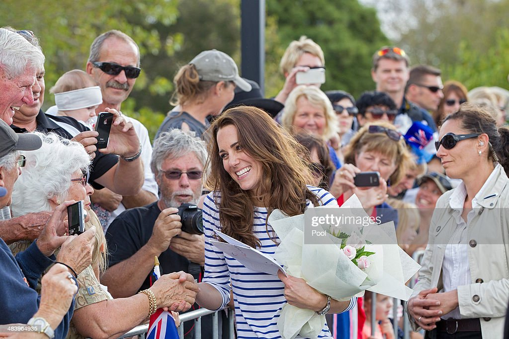 Catherine, Duchess of Cambridge meets with the public at the Westpark Marina on April 11, 2014 in Auckland, New Zealand. The Duke and Duchess of Cambridge are on a three-week tour of Australia and New Zealand, the first official trip overseas with their son, Prince George of Cambridge.