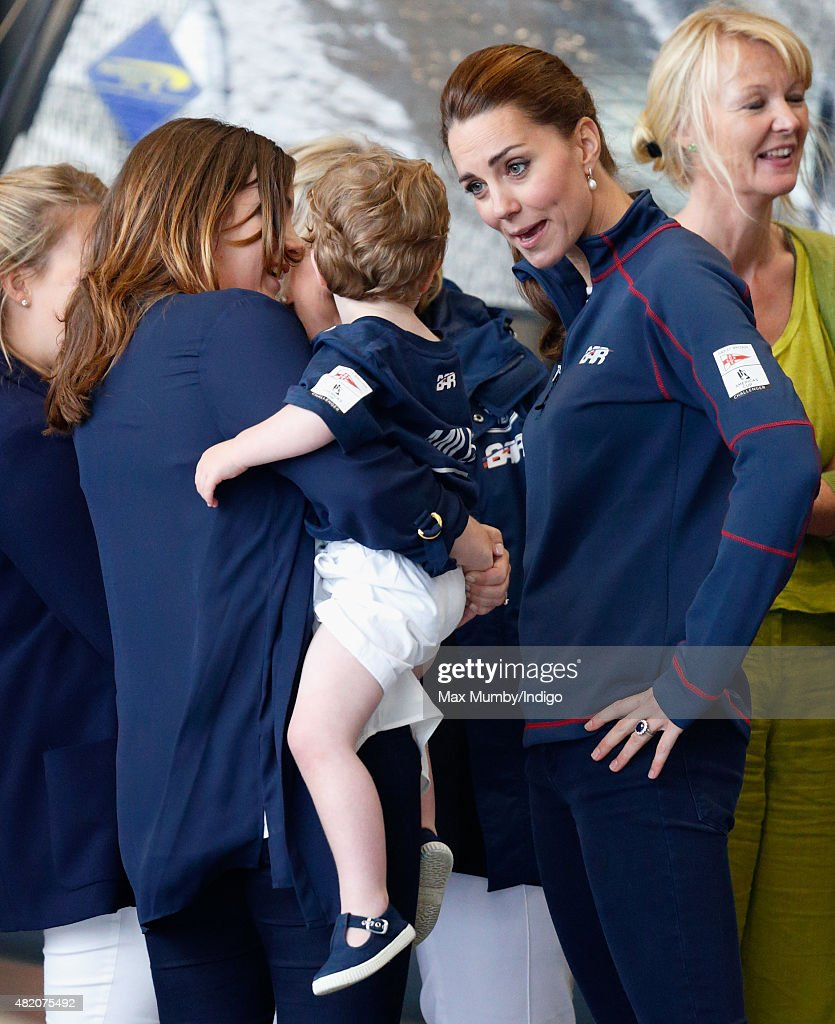 Catherine, Duchess of Cambridge meets workers and families during a visit to the Ben Ainslie Racing (Land Rover BAR) team base as she attends the America's Cup World Series event on July 26, 2015 in Portsmouth, England.