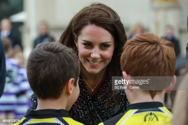 Catherine Duchess of Cambridge meets young Rugby players during the 'Les Voisins in Action' event highlighting the strong ties between the young...