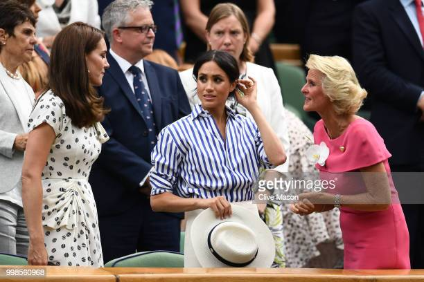 Catherine Duchess of Cambridge Meghan Duchess of Sussex and Gill Brook react after Novak Djokovic of Serbia beat Rafael Nadal of Spain in the Men's...