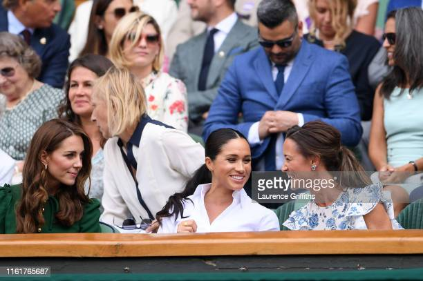 Catherine Duchess of Cambridge Meghan Duchess of Sussex and Pippa Middleton attend the Royal Box during Day twelve of The Championships Wimbledon...